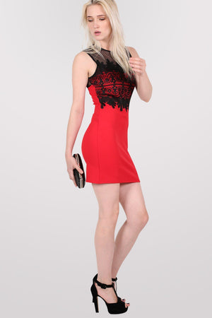 Lace And Mesh Trim Sleeveless Bodycon Dress in Red 4