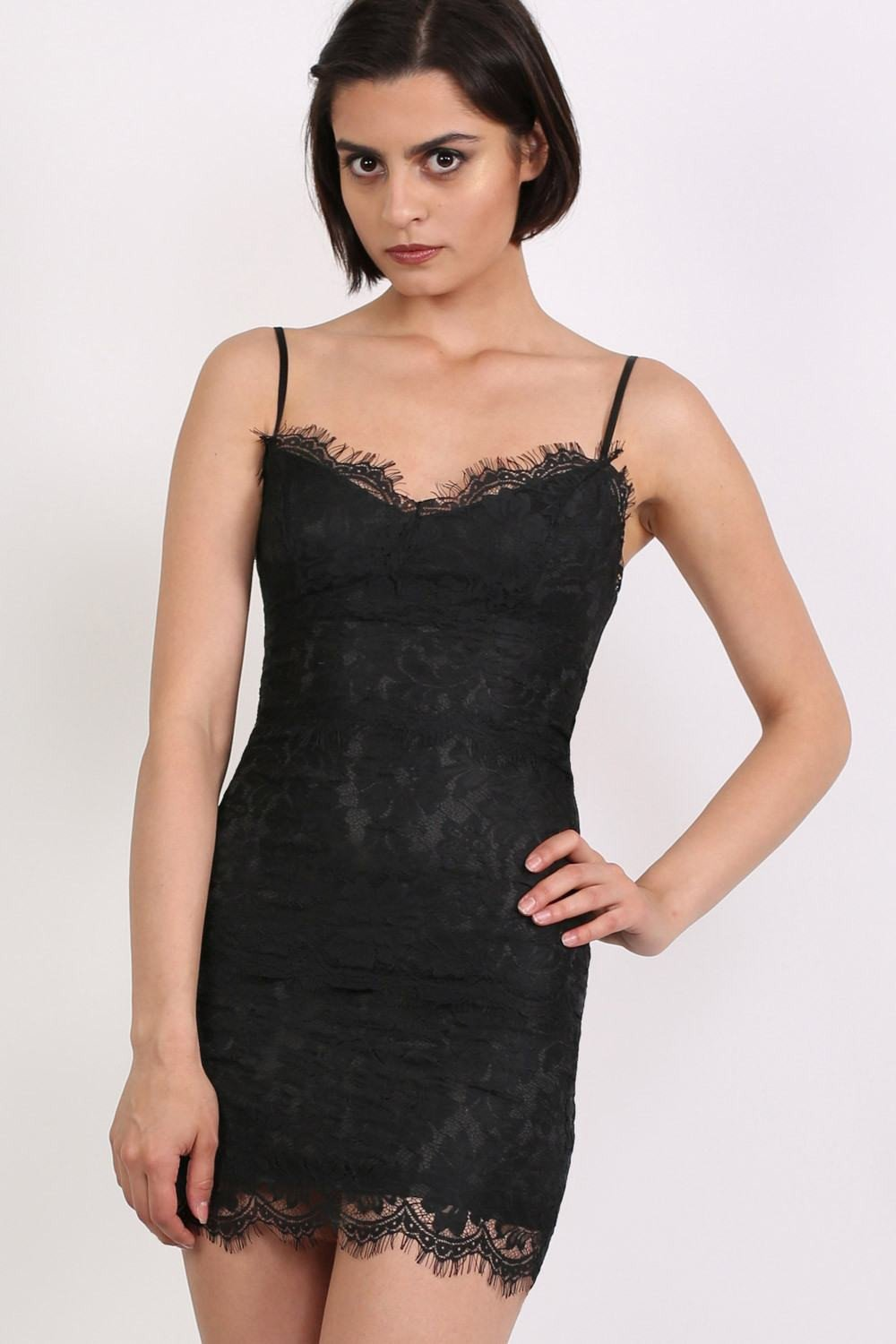Eyelash Lace Bodycon Dress in Black 0