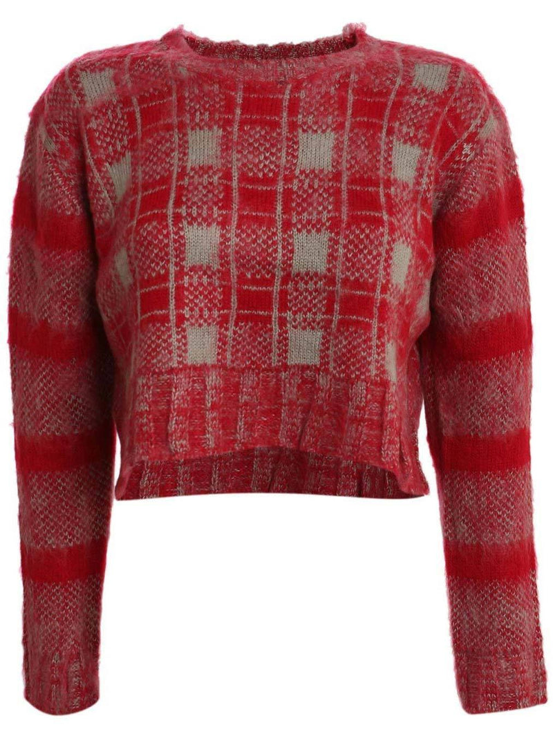 Crop Brushed Check Long Sleeve Jumper in Red 2