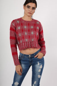 Crop Brushed Check Long Sleeve Jumper in Red 1