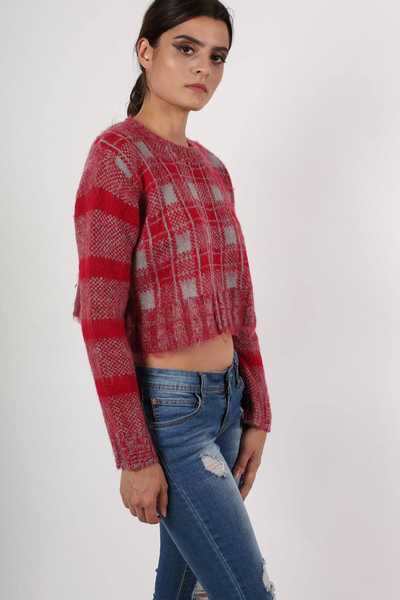 Crop Brushed Check Long Sleeve Jumper in Red 3