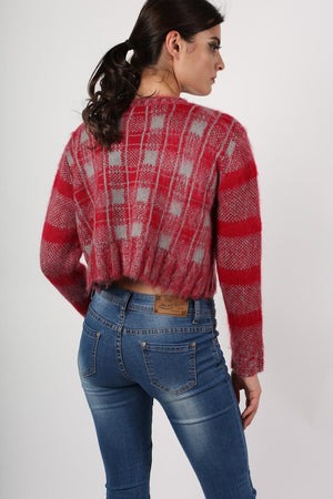 Crop Brushed Check Long Sleeve Jumper in Red 4