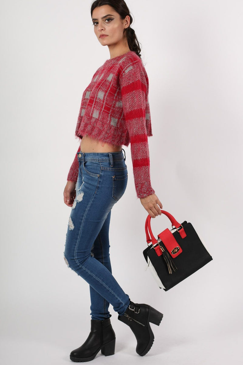 Crop Brushed Check Long Sleeve Jumper in Red 5
