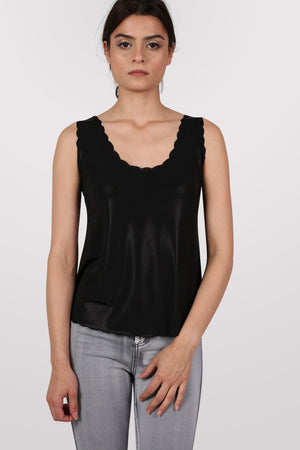 Foil Effect Scallop Edge Vest Top in Black 0