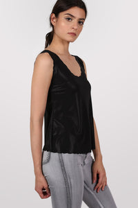 Foil Effect Scallop Edge Vest Top in Black 1