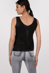 Foil Effect Scallop Edge Vest Top in Black 3