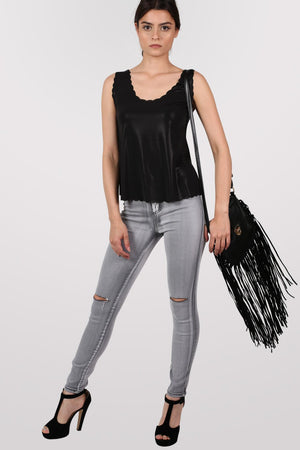 Foil Effect Scallop Edge Vest Top in Black 4