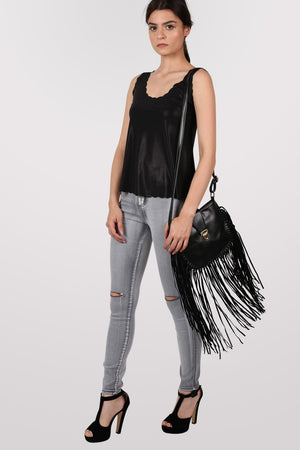 Foil Effect Scallop Edge Vest Top in Black 5