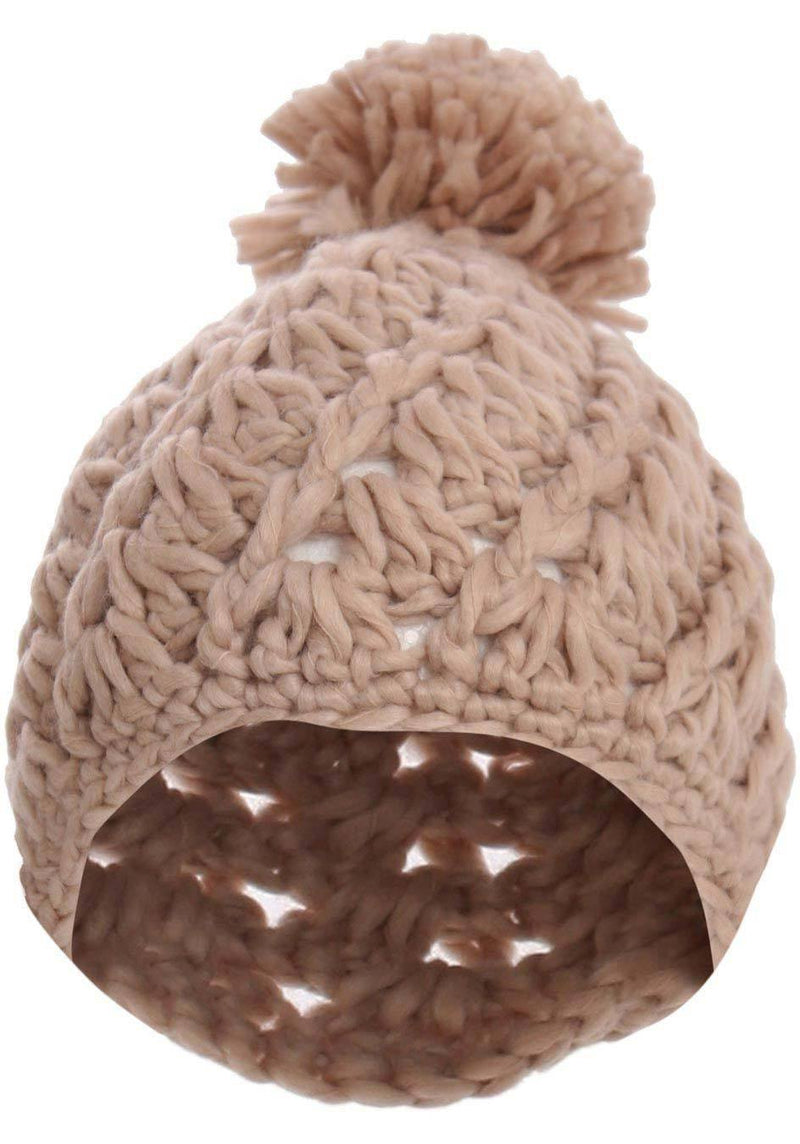 Chunky Knit Pompom Beanie Hat in Pink 2
