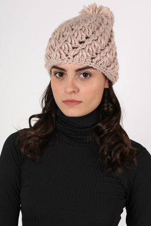 Chunky Knit Pompom Beanie Hat in Pink 1