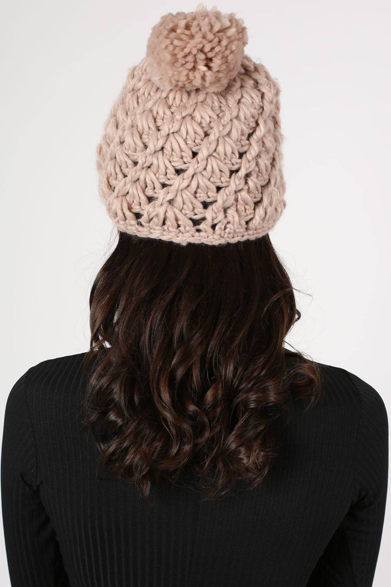 Chunky Knit Pompom Beanie Hat in Pink 3