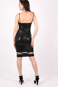 Strappy Sequin Mesh Panel Detail Bodycon Dress in Black 3