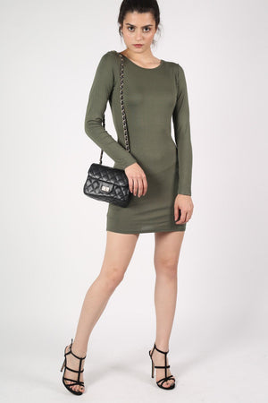 Plain Long Sleeve Bodycon Dress in Khaki Green 0