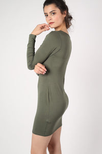 Plain Long Sleeve Bodycon Dress in Khaki Green 3