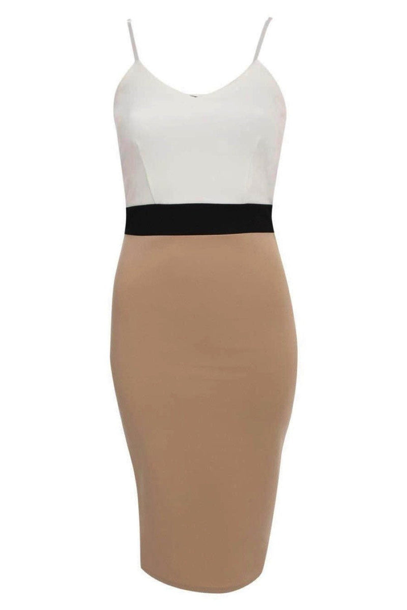 Strappy Contrast Bodycon Dress in Stone 2