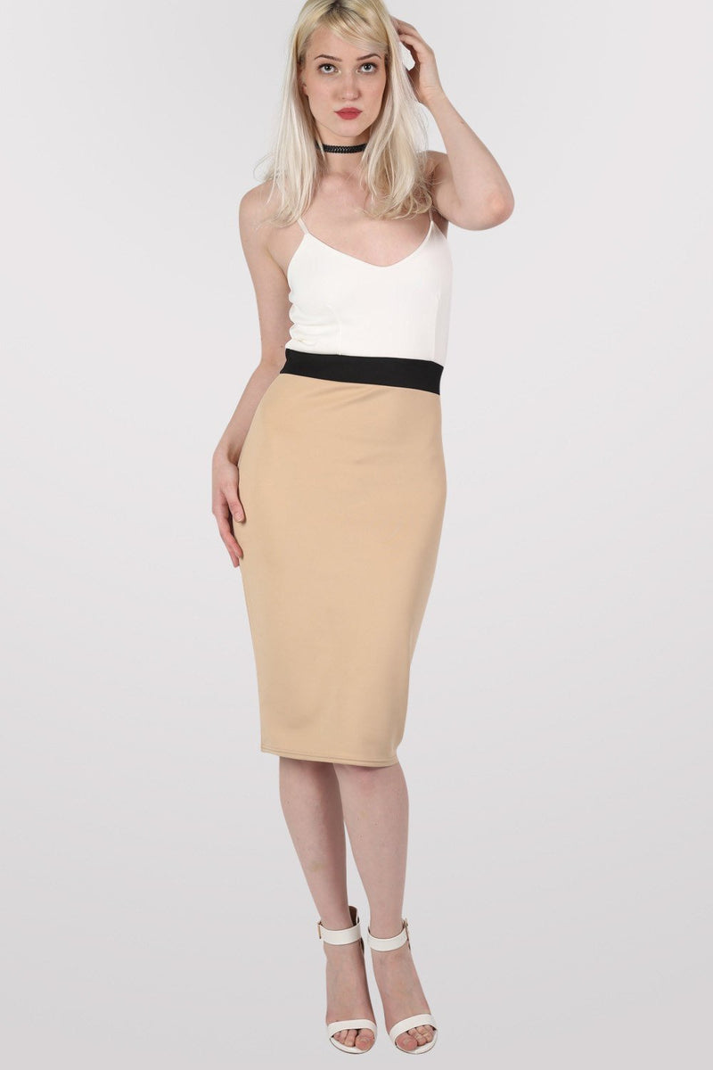 Strappy Contrast Bodycon Dress in Stone 0