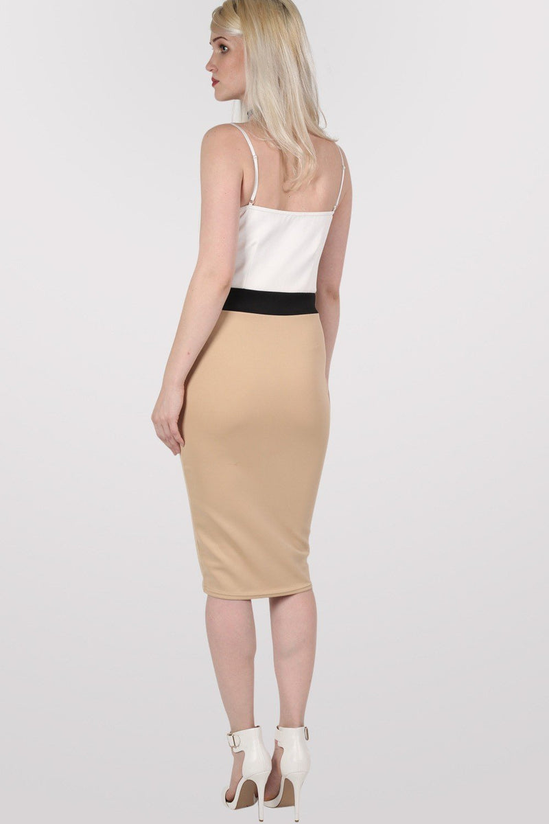 Strappy Contrast Bodycon Dress in Stone 5