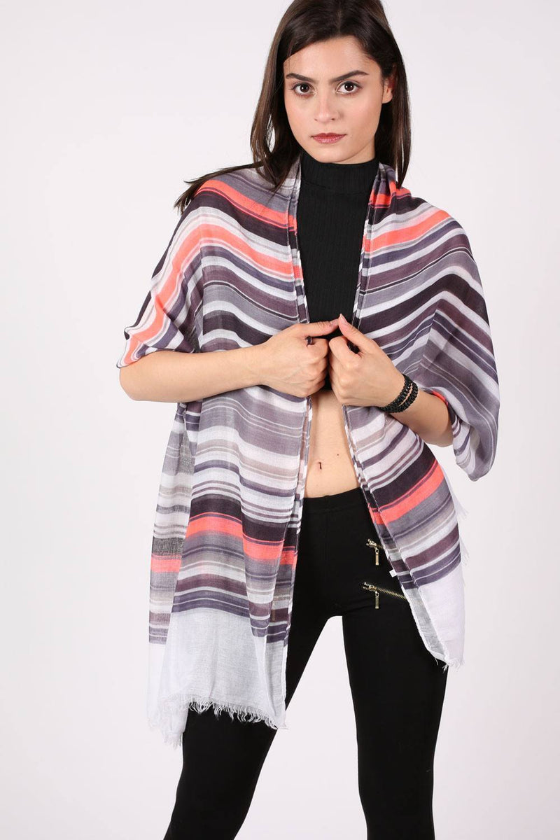 Multistripe Scarf in Grey 2