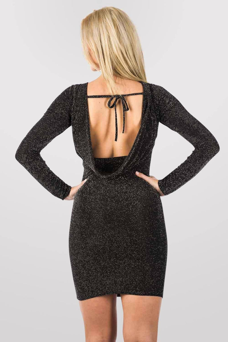 Long Sleeve Lurex Cowl Back Bodycon Dress in Black 2