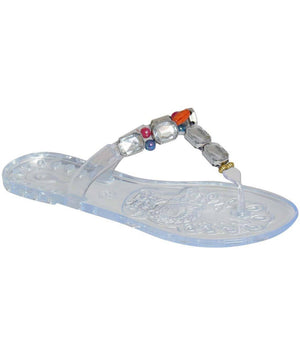 Jewel Strap Jelly Sandals in Transparent 3