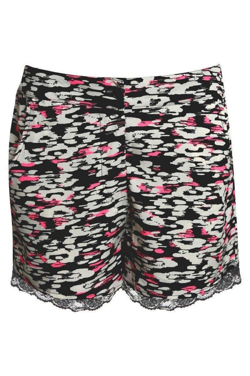 Abstract Print Lace Trim Shorts in Cerise Pink 2