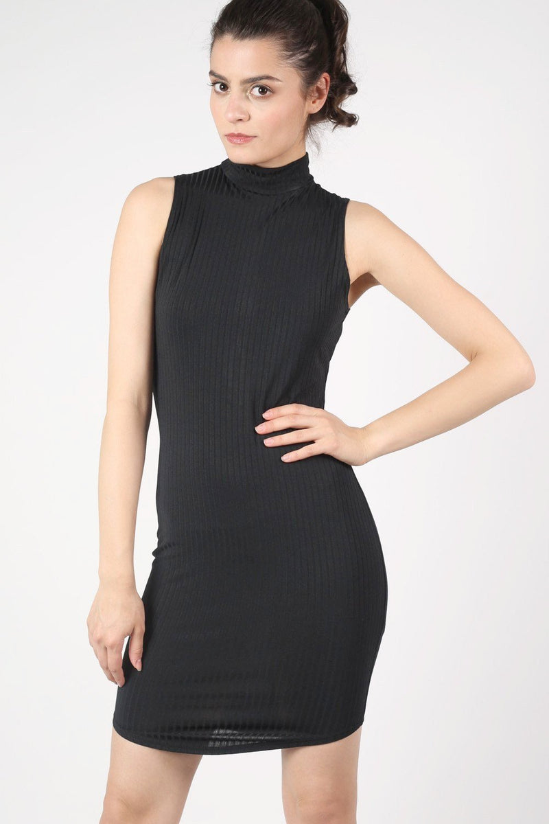 High Neck Sleeveless Rib Bodycon Dress in Black 1