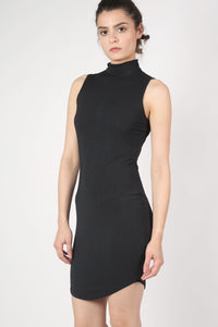 High Neck Sleeveless Rib Bodycon Dress in Black 3