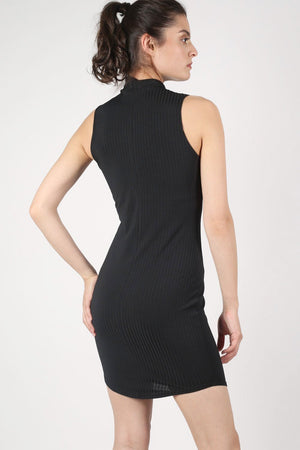 High Neck Sleeveless Rib Bodycon Dress in Black 4