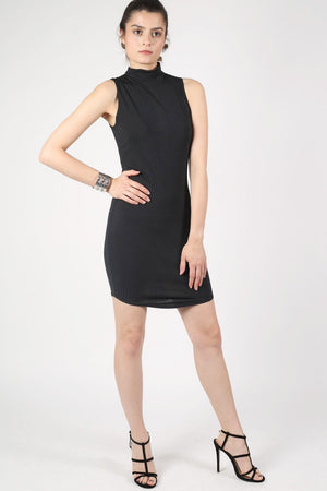 High Neck Sleeveless Rib Bodycon Dress in Black 5