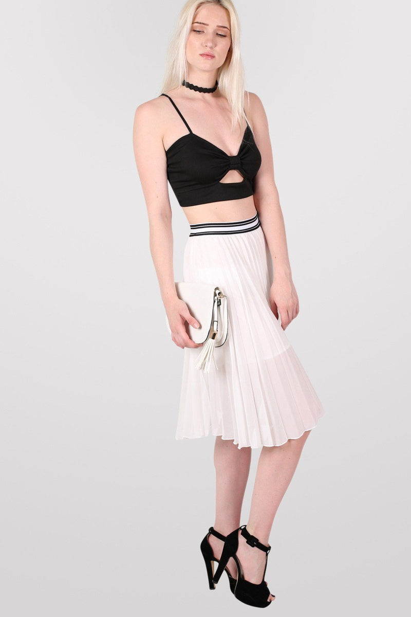 Pleated Midi Skirt in Cream 0