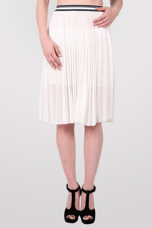 Pleated Midi Skirt in Cream 1