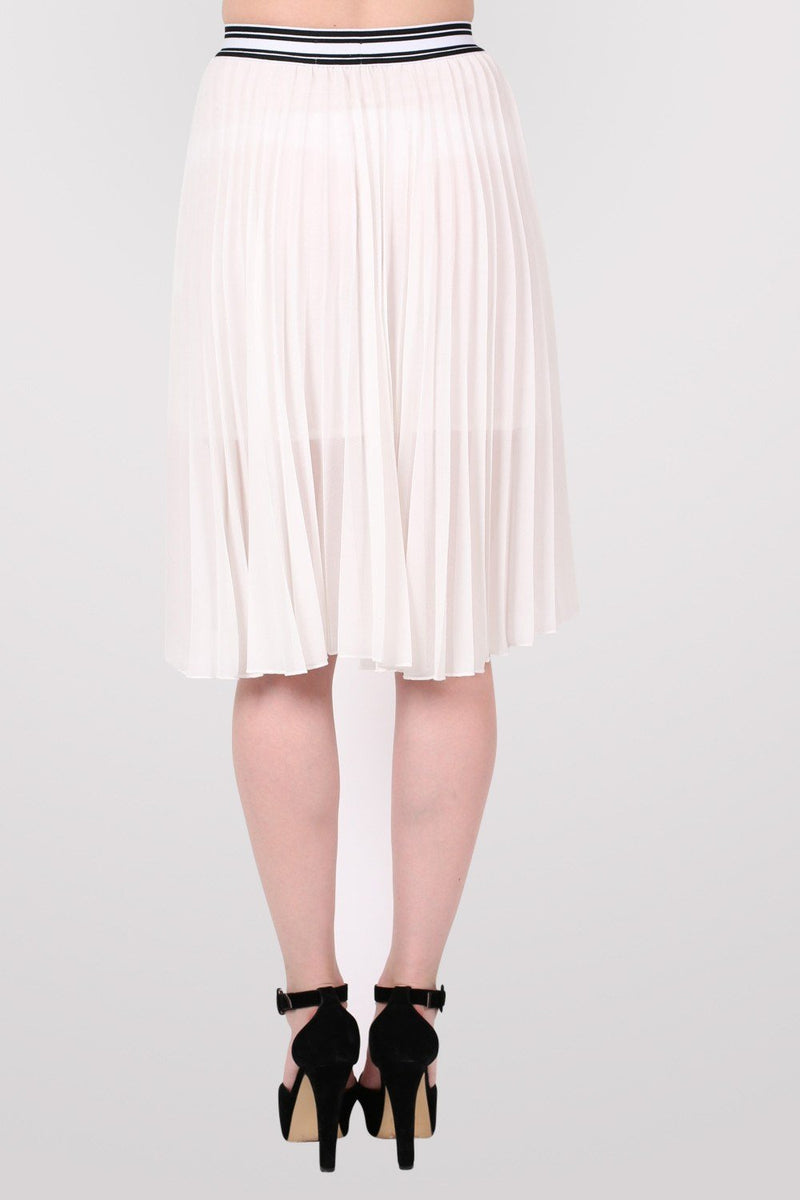 Pleated Midi Skirt in Cream 4