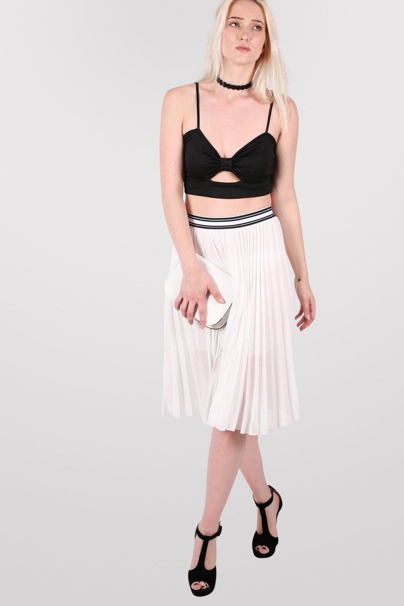 Pleated Midi Skirt in Cream 5