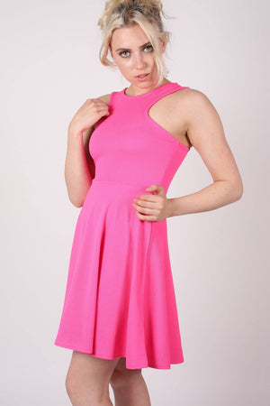 Textured Skater Dress in Bright Pink 0