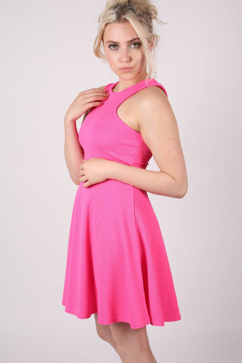 Textured Skater Dress in Bright Pink 1