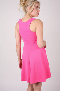 Textured Skater Dress in Bright Pink 3