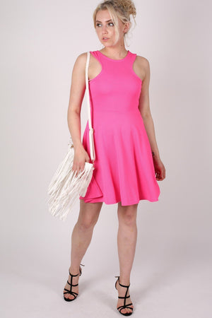 Textured Skater Dress in Bright Pink 5