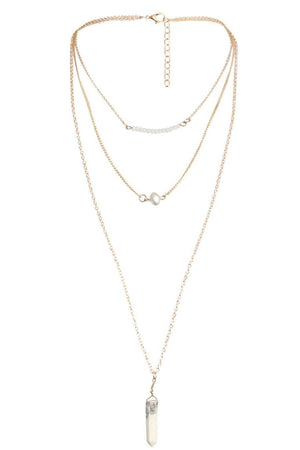 Layered Pendant Necklace in White 3