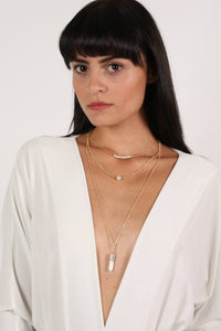 Layered Pendant Necklace in White 0