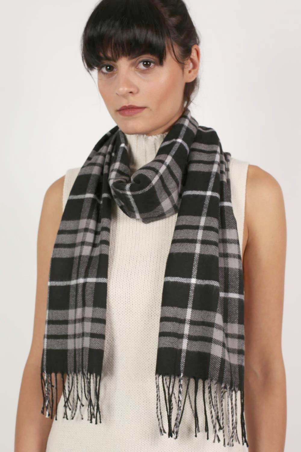 Check Scarf in Charcoal Grey 0