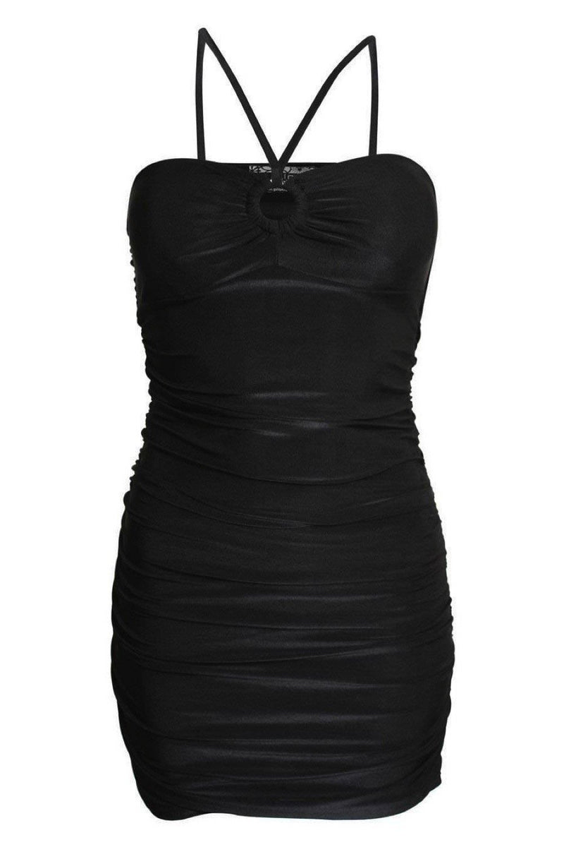 Ruched Side Strappy Bodycon Dress in Black 2