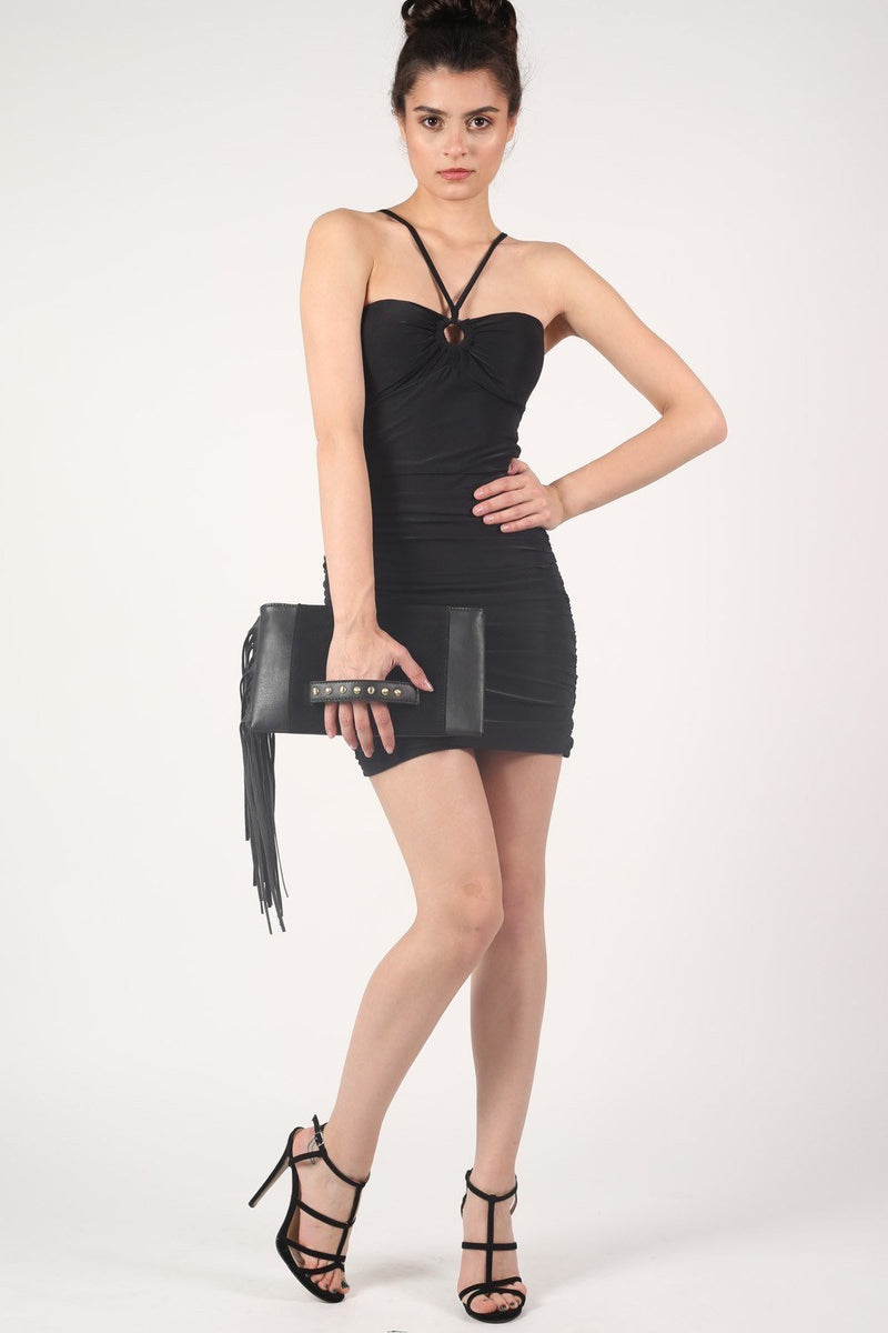 Ruched Side Strappy Bodycon Dress in Black 5