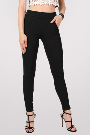 Textured Cigarette Trousers in Black 1