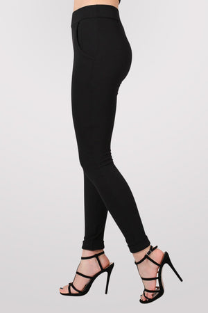 Textured Cigarette Trousers in Black 3