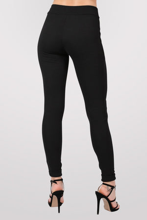 Textured Cigarette Trousers in Black 4