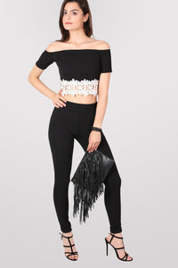 Textured Cigarette Trousers in Black 5