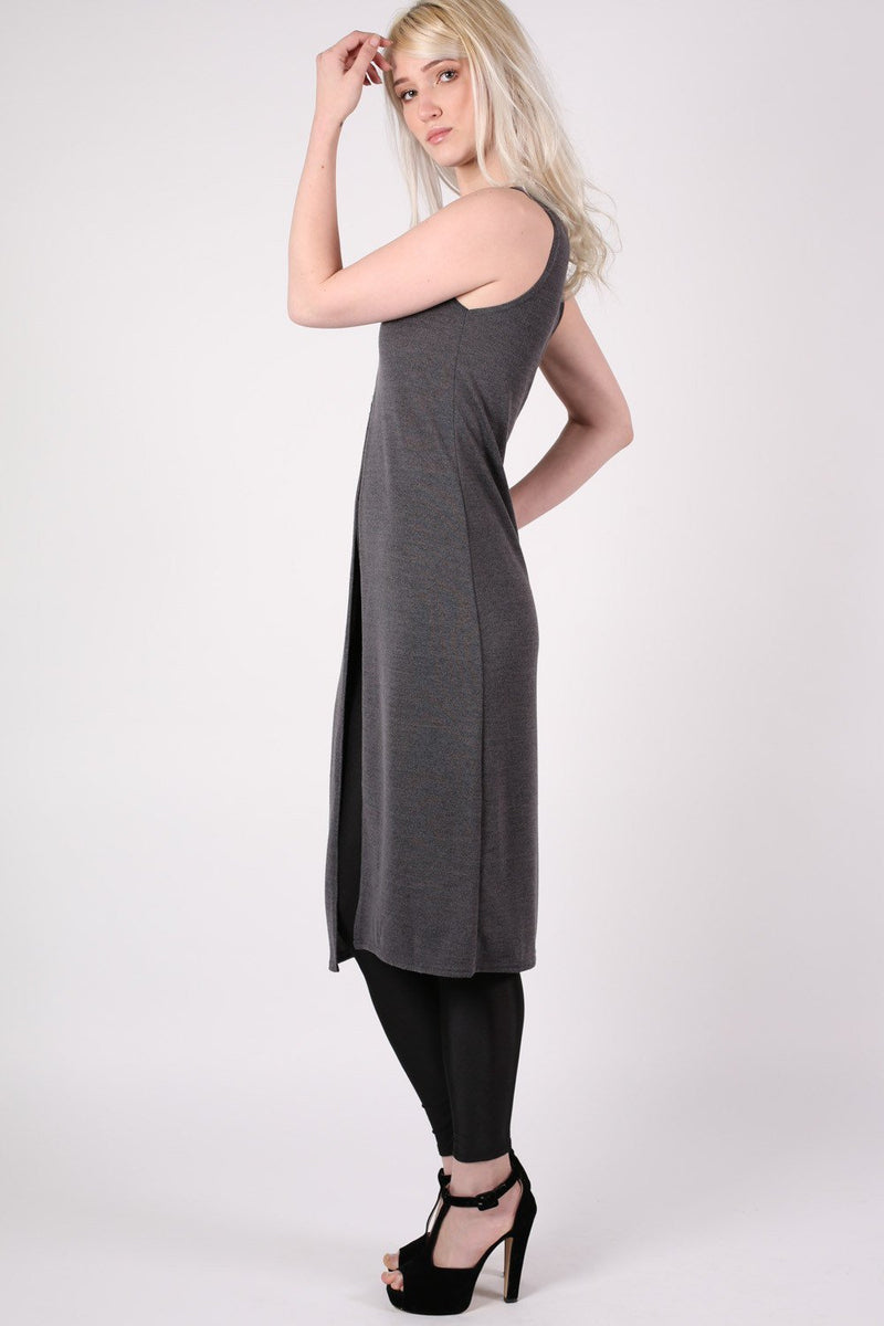 Long Sleeveless Split Front Knitted Tunic Top in Grey 1