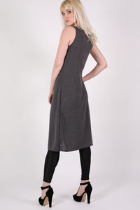 Long Sleeveless Split Front Knitted Tunic Top in Grey 3