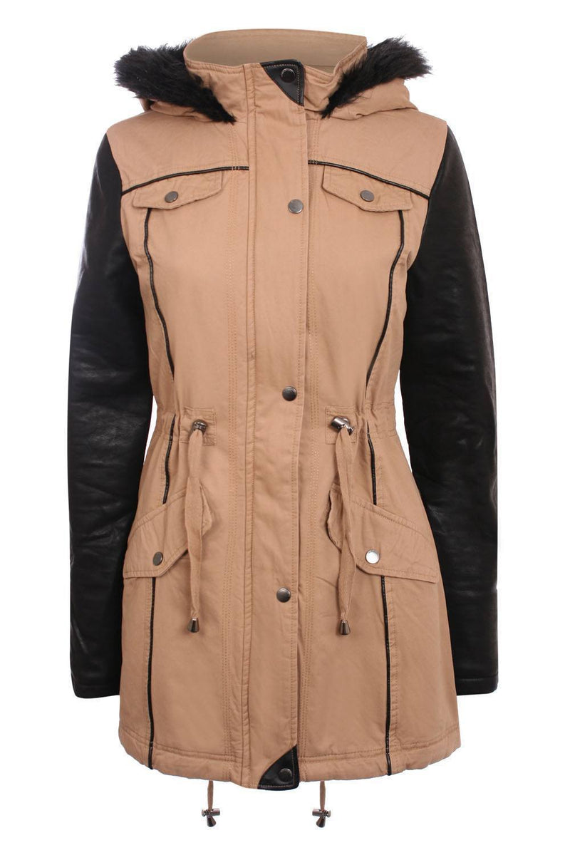 Contrast PU Sleeve Parka Coat in Camel Brown 2