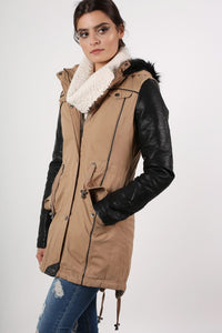 Contrast PU Sleeve Parka Coat in Camel Brown 1